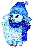 Blue curly hand-painted lamb in a New Year`s hat and scarf with a pattern on a white background. Is isolated. Blue curly hand-painted lamb in a New Year`s hat royalty free illustration