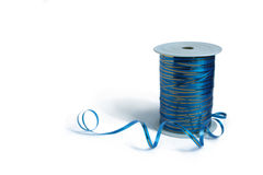 Blue curly ribbon Stock Photography