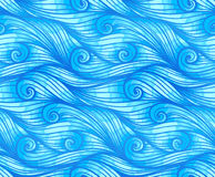 Blue curly waves vector seamless pattern Stock Photos