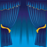 Blue curtain. Back, vector illustration Royalty Free Stock Photo