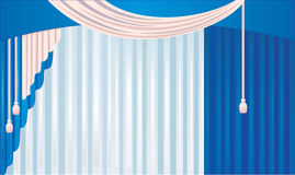Blue curtain. With pink tassel Royalty Free Stock Images