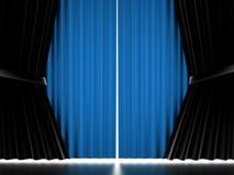 Blue curtain cloth Stock Photos
