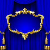 Blue curtain with a decorative gold baroque frame Stock Photography