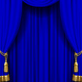 Blue curtain with gold tassels Royalty Free Stock Images
