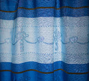 Blue curtain. And heart pattern Royalty Free Stock Photos