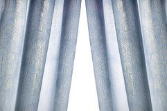 Blue curtain isolated on white background Royalty Free Stock Image