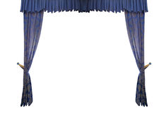 Blue curtain isolated on white background Royalty Free Stock Photography