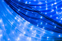 Blue curtain and lights as decoration. For wedding or another catered event Royalty Free Stock Image