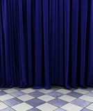 Blue curtain royalty free stock photo