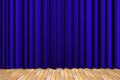 Blue curtain stage Stock Photography
