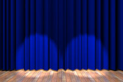 Blue curtain stage Royalty Free Stock Photos