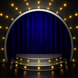 Blue curtain stage with lights royalty free stock images