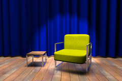 Blue curtain stage with a sofa Royalty Free Stock Photo