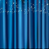 Blue curtain with stars. Festive blue curtain with stars Stock Photography