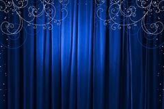 Blue curtain, vector Royalty Free Stock Photos