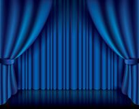 Blue curtain vector illustration Royalty Free Stock Image