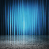 Blue curtains Stock Photos