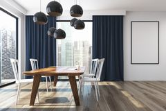 Blue curtains dining room, poster. White dining room interior with a large window with blue curtains on it, a long wooden table and white chairs. A framed poster Royalty Free Stock Images