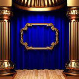 Blue curtains, gold frame Royalty Free Stock Image