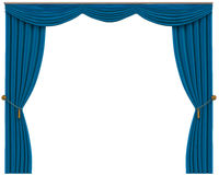 Blue Curtains Isolated on White Background Stock Images