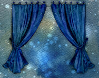 Blue Curtains. Watercolor vector illustration