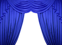 Blue curtains on a white background Royalty Free Stock Photography