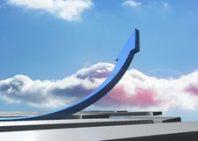 Blue curved arrow pointing up Stock Photos