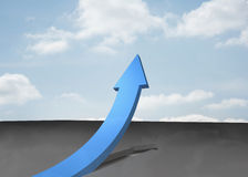 Blue curved arrow pointing up Royalty Free Stock Photography