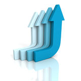 Blue curved arrows going up on white background. 3d render illustration Royalty Free Stock Image