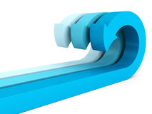Blue curved arrows group on white. 3d render illustration Royalty Free Stock Photography