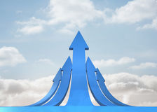 Blue curved arrows pointing Royalty Free Stock Photo