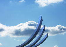 Blue curved arrows pointing up Royalty Free Stock Photography