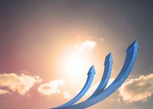 Blue curved arrows pointing up Stock Photo