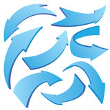 Blue Curved 3D Arrows Stock Photo