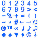 Blue curved 3D numbers and symbols Stock Photos