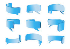 Blue curved talk bubble Stock Images