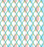 Blue curves abstract decorative background, seamless, vector. Vertical pink and blue diamonds with rounded corners on a white field. Geometric background Stock Photography