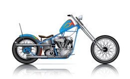Blue custom chopper Royalty Free Stock Images