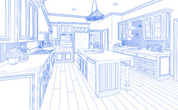 Blue Custom Kitchen Design Drawing on White. Beautiful Custom Kitchen Design Drawing in Blue on White vector illustration