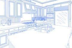 Blue Custom Kitchen Design Drawing on White royalty free illustration