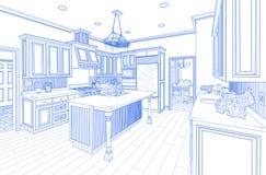 Blue Custom Kitchen Design Drawing on White. Beautiful Custom Kitchen Design Drawing in Blue on White royalty free illustration