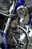 Blue custom motorcycle chrome details Royalty Free Stock Image