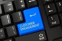 Blue Customer Engagement Button on Keyboard. 3D. Keypad Customer Engagement on Modernized Keyboard. 3D Render stock photos