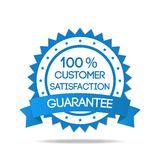 Blue Customer Satisfaction Badge. Blue customer service badge isolated Stock Photo