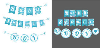 Blue cute banner Baby Shower Party. It`s a boy. Printable template flags for party Royalty Free Stock Photo