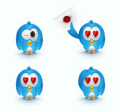 Blue cute bird love eye Royalty Free Stock Photo