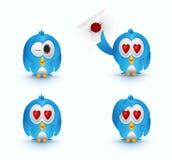 Blue cute bird love eye Royalty Free Stock Photo
