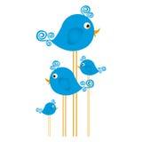 Blue cute cartoon birds set with swirl feathers Royalty Free Stock Photos