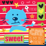 Blue cute cat  illustration Stock Image