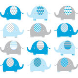 Blue Cute Elephant Collections stock illustration